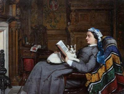 Elizabeth Allan Fraser reading in the Dining Room, painted by Patrick Allan Fraser