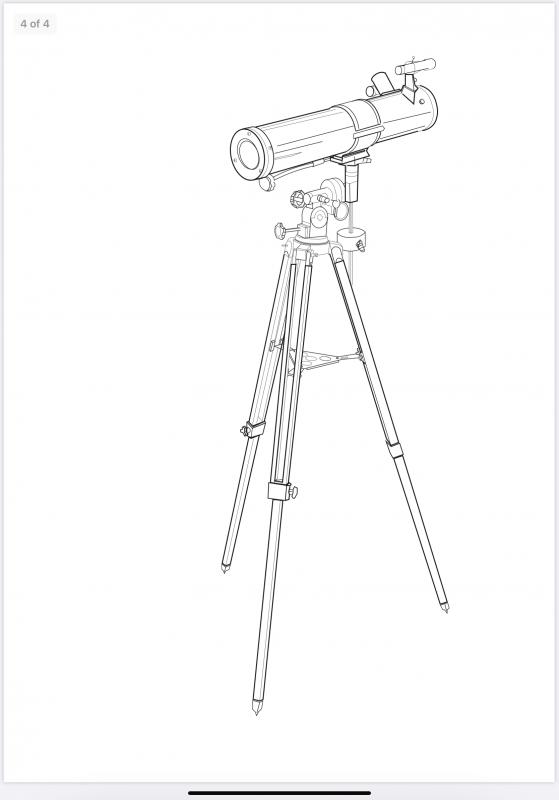 A digital drawing of a telescope on a tripod