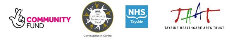 Funding logos, lotto community fund, nhs communities in control, THAT , NHS Tayside, National Heritage Lottery Fund