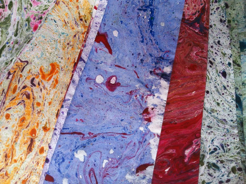 Marbled papers made by Timmergreens Primary School pupils