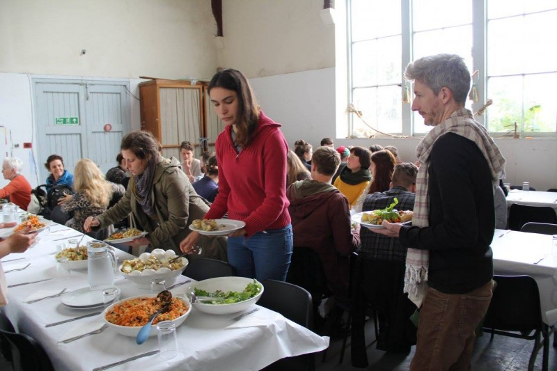 FIELDWORK 2016 participants eating in the studios.