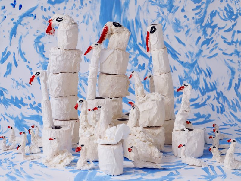 Swans made out of toilet paper by Sally Hackett