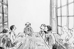 Drawing of Board Members in the Library