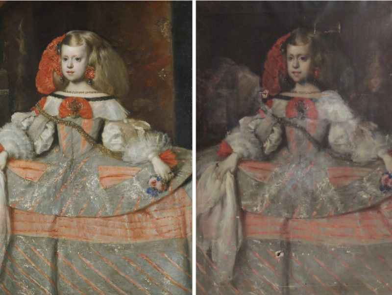 2 paintings side by side. Both images show a child wearing a big dress looking out of the picture. The image on the left is an original painting, the image on the right is a copy and show significant damage.