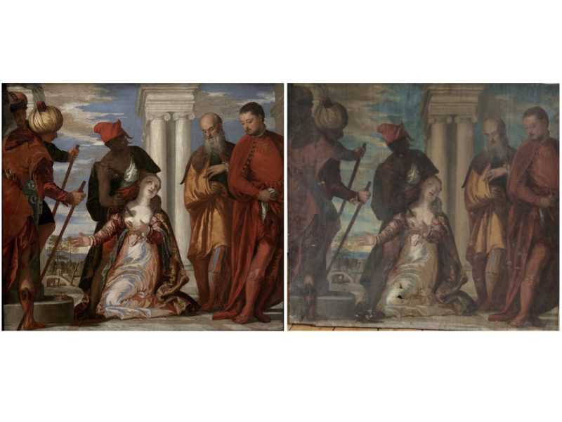 2 paintings side by side. Depict a scene showing St Justina being executed. The executioner is being directed by two figures on the right of the painting.