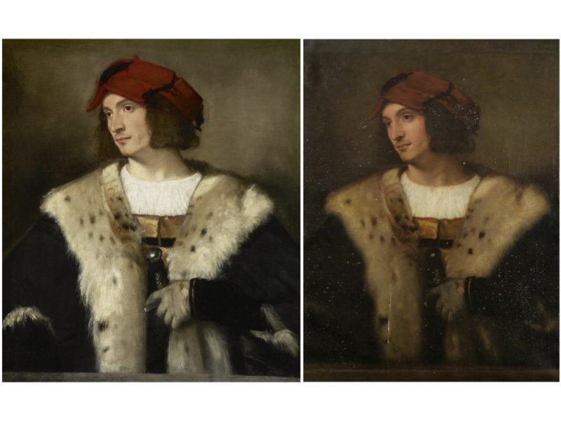 2 paintings placed side by side of a person wearing a red hat. Person wears fur jacket and has the handle of a sword in hand.
