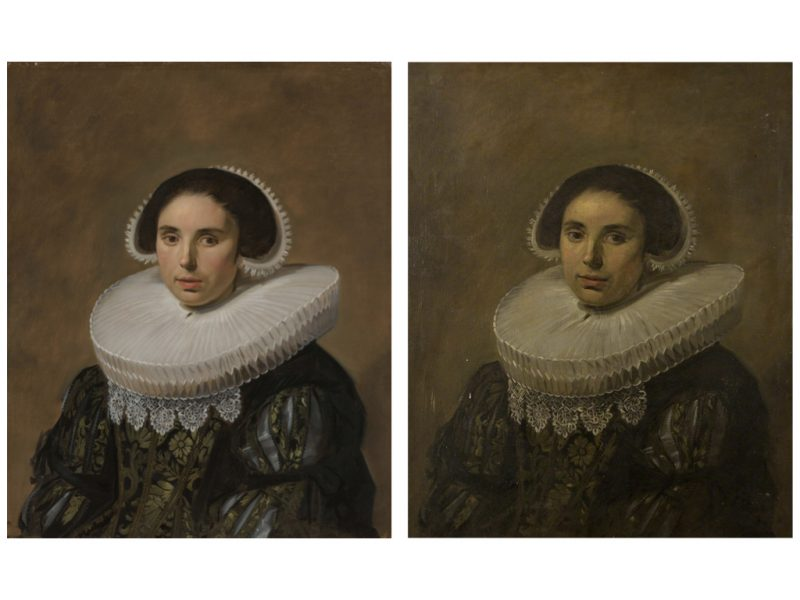 2 paintings side by side. Both images show a woman wearing a neck decoration looking out of the picture. The image on the left is an original painting, the image on the right is a copy and you can see brushstrokes more.