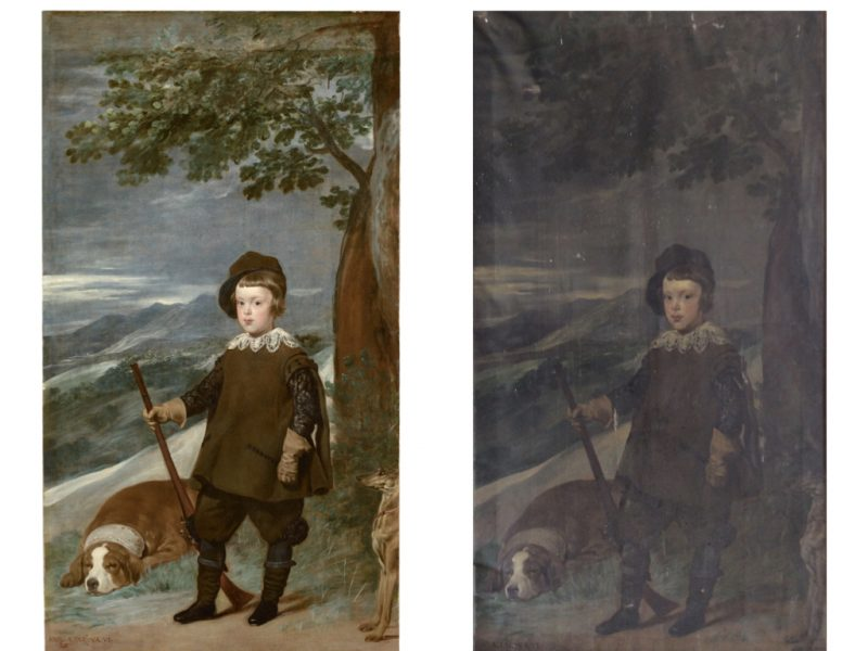 2 painting side by side. There is a child wearing hunting clothes holding a gun standing by a tree. There is a dog sleeping on the ground. The background depicts a landscape. The painting on the left is the original and the painting on the right is the copy.