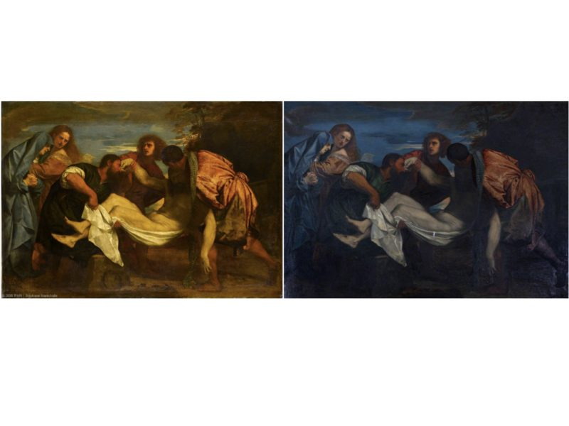 2 paintings side by side. 3 people cradle a limp adult body (jesus) while 2 people look are in distress looking at the limp body.