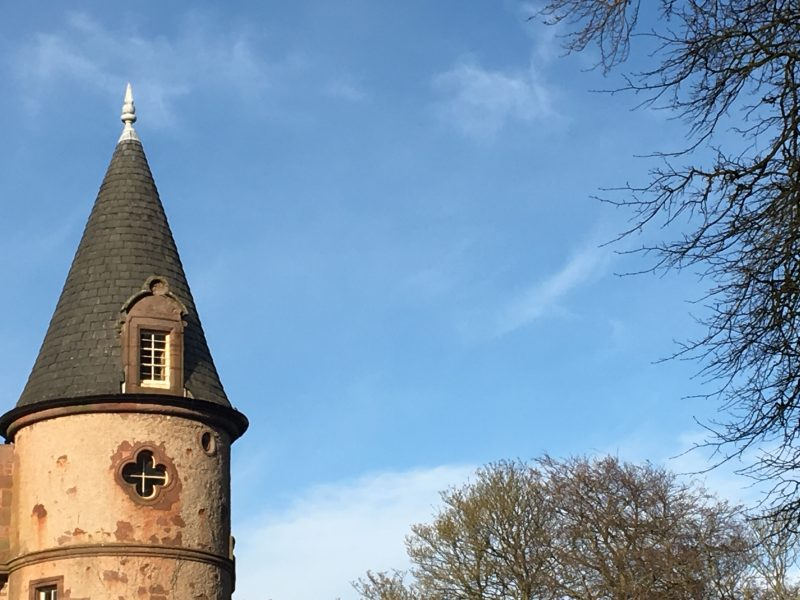 Image of a tower by a blue sky