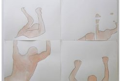 four drawings of bodies in same position from different perspectives