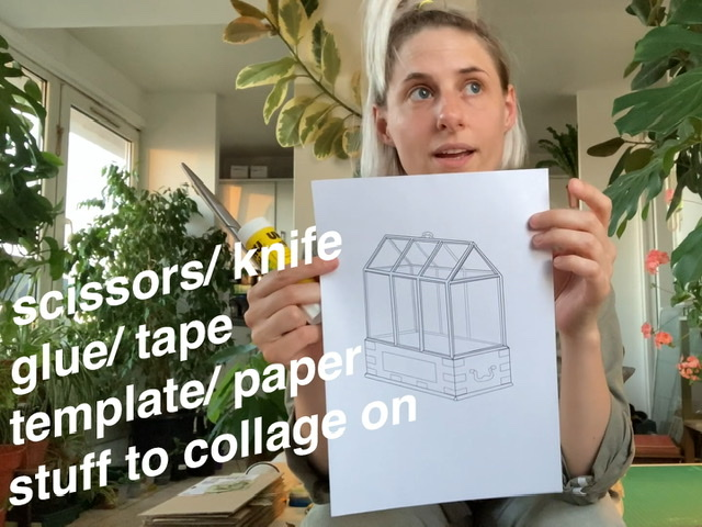 Artist Rachel Pimm holds up a digital drawing of a wardian case. Text on the image includes scissors/ knife, gule/ tape, template/ paper and stuff to collage on
