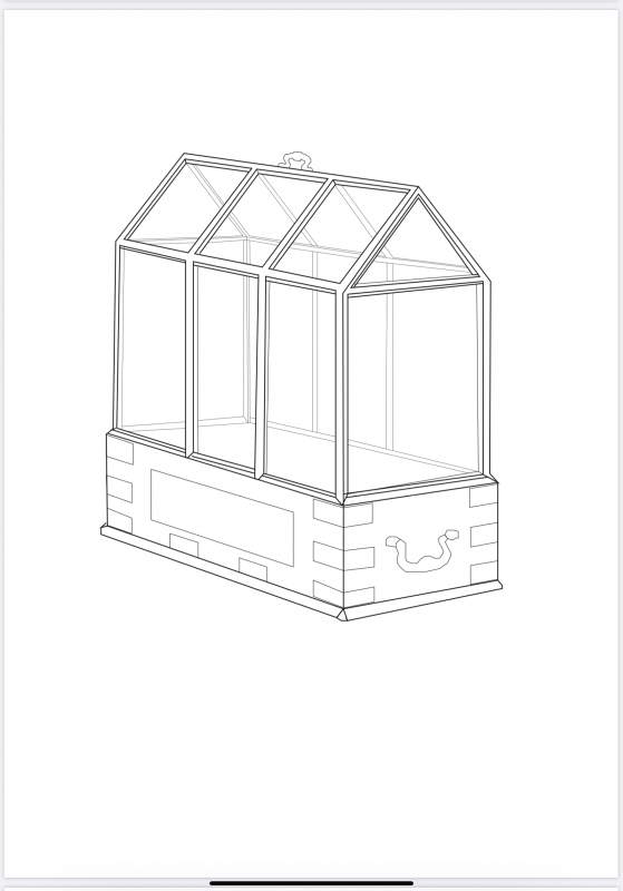 A digital drawing of a wardian case for carrying plant materials when collecting