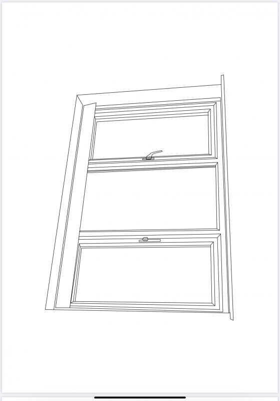 Digital drawing of a window in black and white