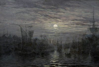 A painting of the moon in a harbour