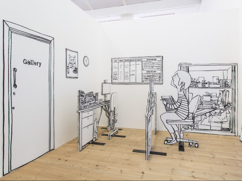 A photograph of an installation by Mick Peter.