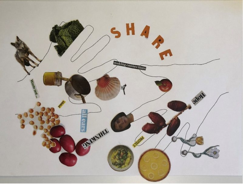 Collage with image of food and the word share