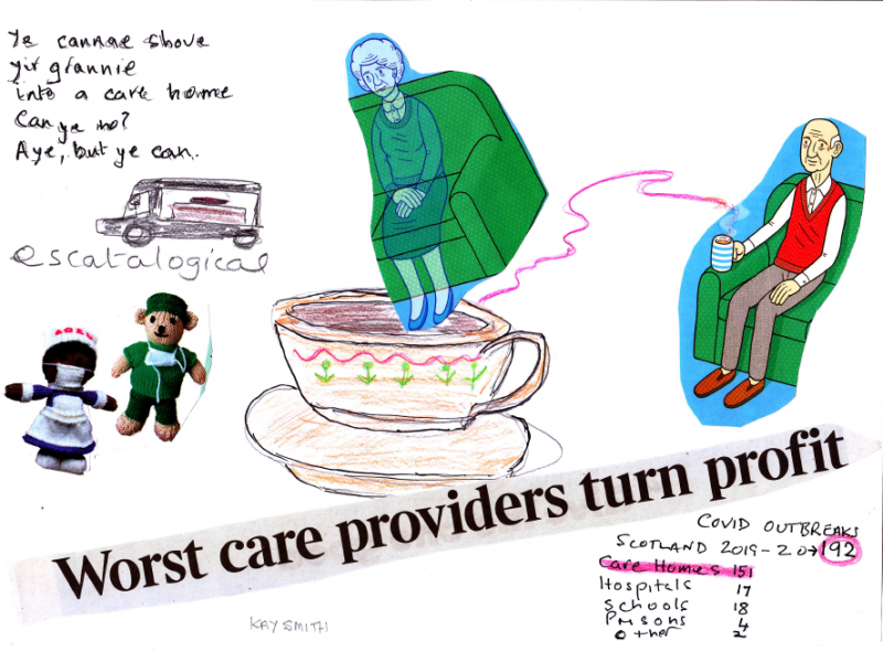 Images of elderly illustrated people and collage words read: worst care providers turn profit
