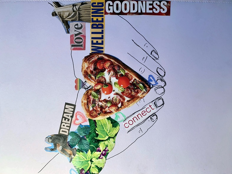 Drawing of hands surround a heart shaped pizza with words saying goodness and dream