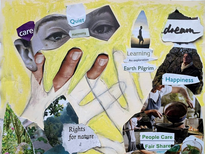 Drawing of hands surrounded by cut up words that say learning and nature etc.