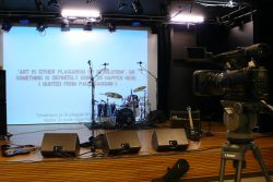an image of the stage, waiting for the young rockband.