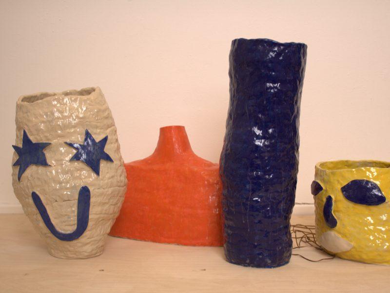 Four decorated ceramic pots