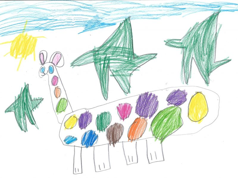 colourful pencil drawing of a rainbow giraffe with green stars around it