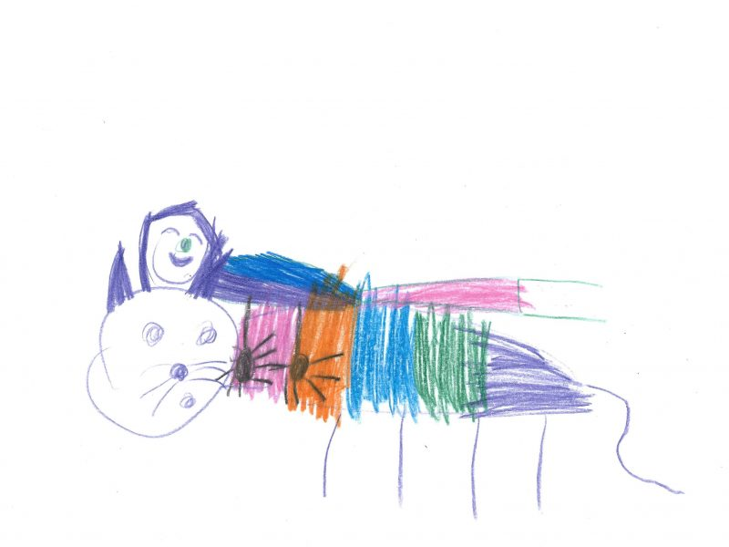 Colour pencil drawing of a rainbow cat with someone lying on its back