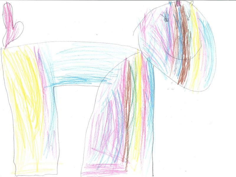 colourful drawing of a unicorn