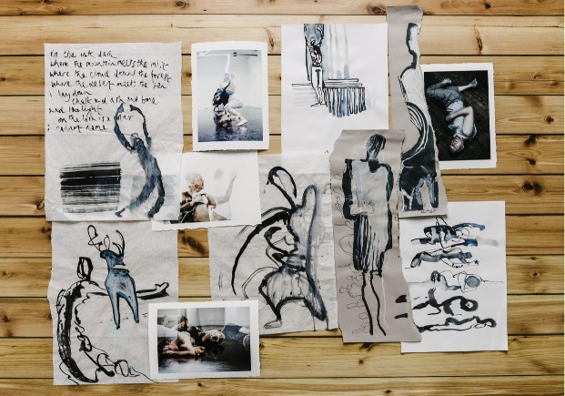 drawings of abstract figures in black ink with poetry